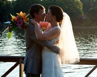 WEDDING VEIL, Bridal Veil, 2 Tier Bridal Veil, Oval Wedding Veil, Ivory Bridal Veil, White Bridal Veil, Elbow Length Veil,Custom Bridal Veil