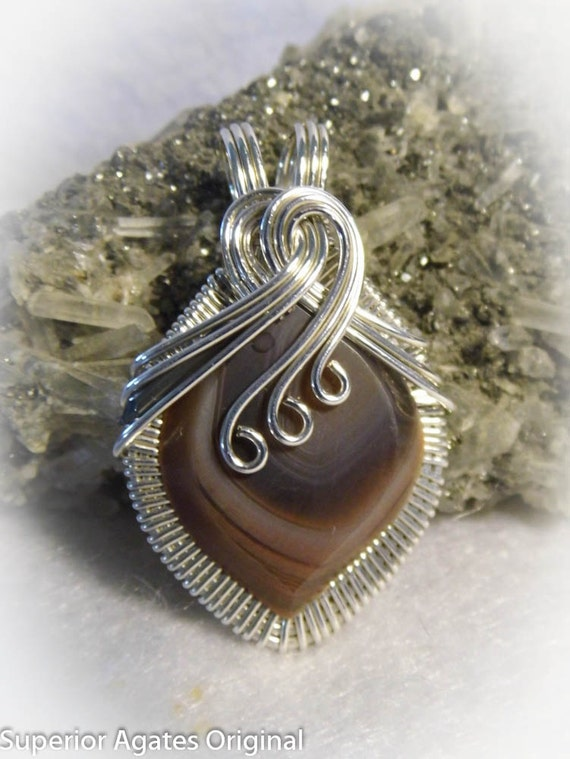 Minnesota Lake Superior Agate Wire Wrapped Stone Pendant