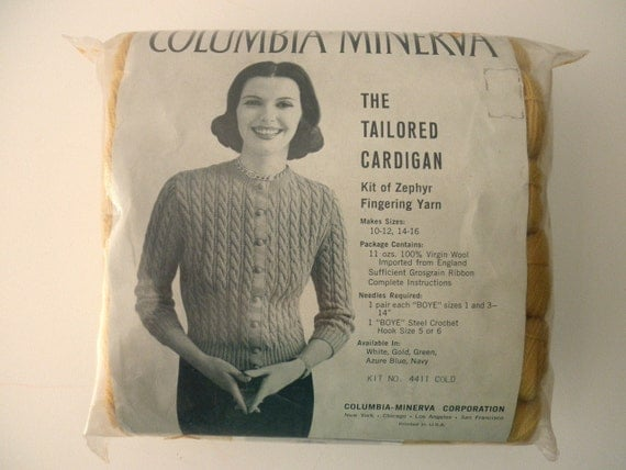 Vintage Columbia Minerva yarn kit for wool sweater - 1950s, 1960s, gold, cardigan