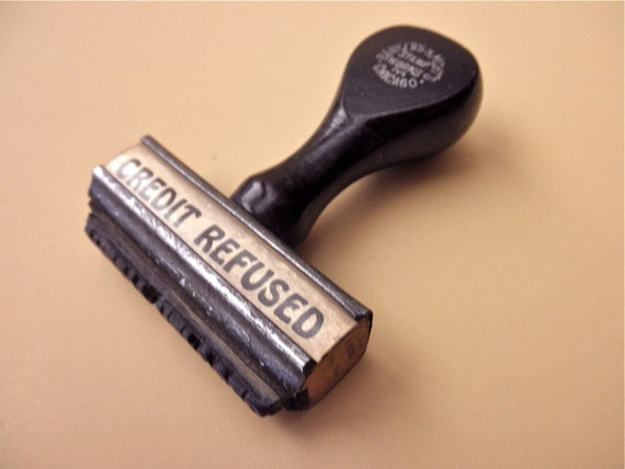 vintage 1930s RUBBER STAMP with wooden handle - credit refused, made in Chicago