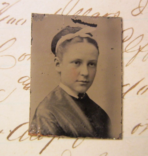 antique GEM tintype - girl with updo, hair ribbon - late 1800s, ferrotype - GTa87