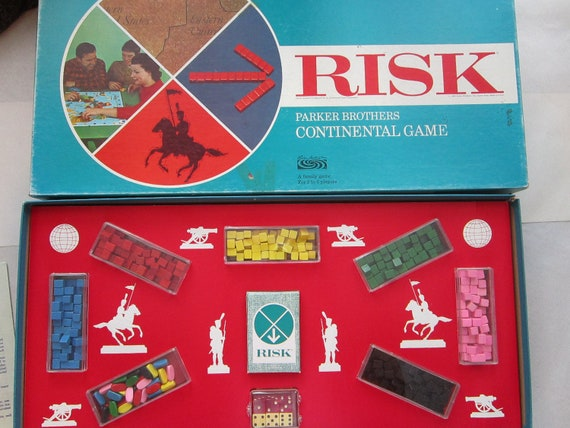 vintage RISK game - nice condition, wood game pieces - circa 1968