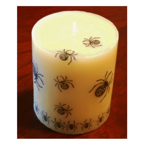 SPIDERS Candle - Cream Pillar - Black, Flourished, Bugs, 8 Legs, Halloween, Goth, Decoration, Steampunk, Spooky, Macabre