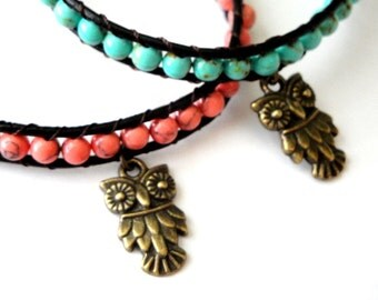 Owl Beaded Leather Wrap Bracelet