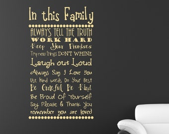 In this Family Rules Vinyl Decal Quote