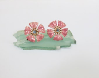 Pink Mauve Flower Clip On Earrings AB Rhinestone 1960s