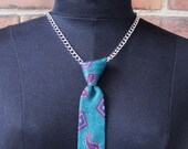 """skinny neck tie necklace in turquoise paisley silk - for alternative executive business casual """"professionals"""""""