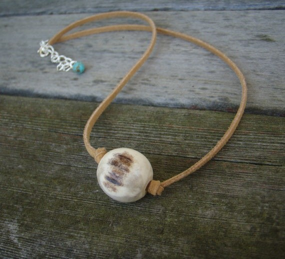 CLEARANCE SALE - Nomad's Antler Bead Necklace. Deer Antler and Rustic Suede.