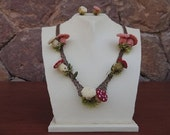 Musrooms  Necklace and Ring Set,Crochet Necklace,Mushroom, Crochet Necklace,