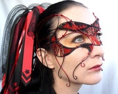 Womens red and black cyber goth masquerade mask, mardi gras, Costume, accessories, handmade - gringrimaceandsqueak