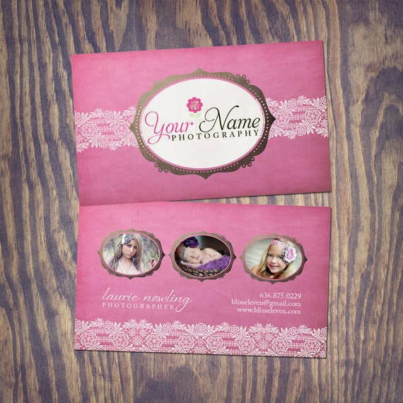 Photography Business Card PSD Template Design - Pink Lace
