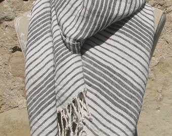 Handwoven Linen Flax Dark Brown And White Scarf (Shawl)- Pure Linen