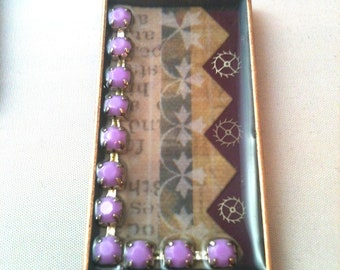 Purple Steampunk Necklace with Watch Gears and Rhinestone