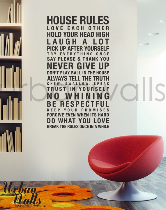 Vinyl Wall Decal Sticker Art, House Rules