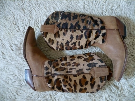 RESERVED Guess Leopard Print Calf-Hair Leather Cowboy Boots - Size 6