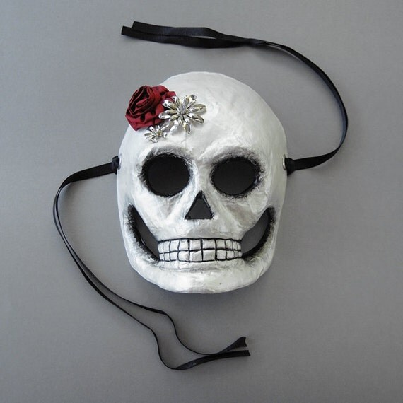 SALE - Skull Mask, Day of the Dead - Paper Mache, Silk and Metal Flowers