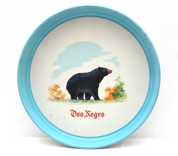 vintage Oso Negro Ginebra metal serving tray // black bear // gin & vodka