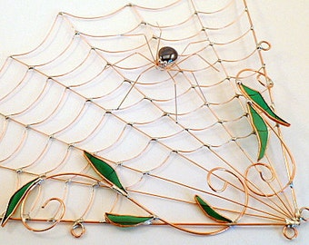 Large Corner Handmade Copper Spider Web and Spider Perfect Gift for Entomologists and Bug Lovers