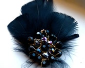 Black Beaded Feather Hair Pin