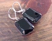Black Onyx Earrings Vintage Glass Jewels Silver Plated Brass Classic Black Tie Wedding Jewelry Cushion Cut