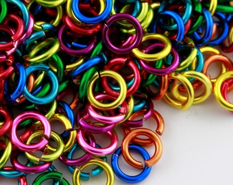 JUMP RINGS -  20g (AWG) Enameled Copper Jumprings - Rainbow Mix - 1 Ounce- Pick Your Size!