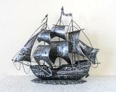 midcentury black brushed metal ship - tin - nautical - ocean - pirate