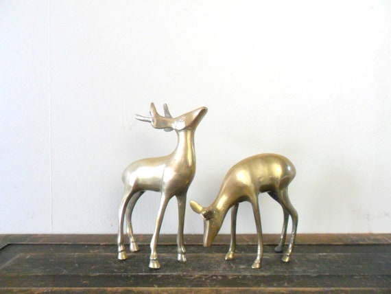 vintage smooth india brass deer figurines - midcentury - patina - christmas - holiday decor