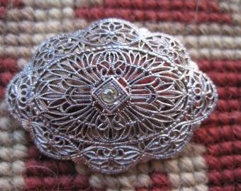 Vintage Rhinestone Filigree Lace Pin Brooch Bridal Bride Wedding