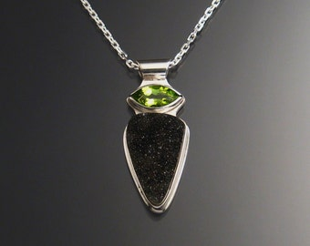 Black Agate Druzy and Peridot Necklace, Sterling Silver