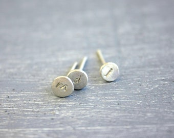 Initial Stud earrings lowercase in Recycled Fine Silver / initial tiny silver post earrings minimal Handmade