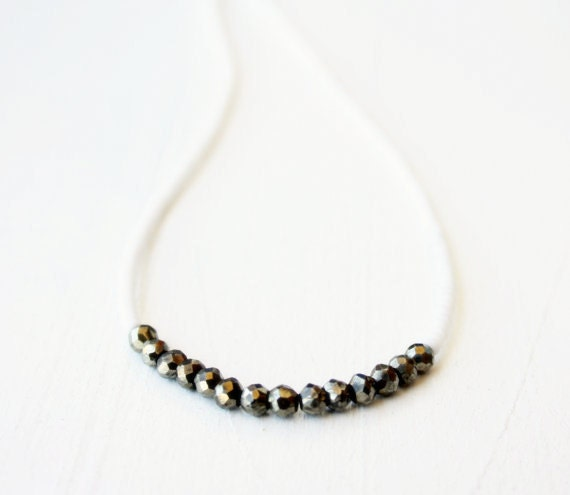 White beads and Pyrite beaded necklace / summer bohemian jewelry / silver metallic pyrite necklace / Handmade