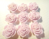 15pcs Resin Rose Flower Cabochon light violet 23mm (no hole)