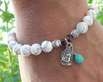 White Magnesite beaded meditation Stretch Bracelet with Buddha Charm - gemstone bracelet - yoga bracelet - boho hippie