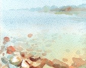 Foggy and Clear Watercolor Beach Signed Giclee Print