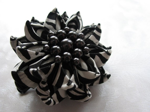 On the Wild Side Zebra Print Kanzashi Flower Hair Clip