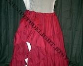 Long Burgundy Wine 25 Yard Hem Cotton Pirate Wench or Gypsy Skirt petticoat steampunk Victorian ruffle