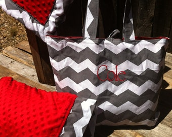 Minky Blanket with matching pillow case and personalized travel bag
