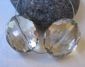 Pair Large light Smoky Quartz Faceted Oval Nugget Beads