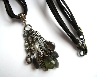 Microsuede Leather Necklace with Smokey Quartz, Versuvianite Idocrase, Pearls and Celtic Charms