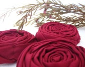 3 Fabric Rosettes - appliques -  Deep Red / Burgundy