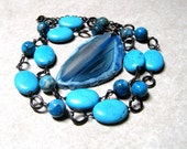 Long Turquoise Necklace Chrysicolla Blue Brown Beads Blue Agate Slice Pendant Handmade in Sterling Silver