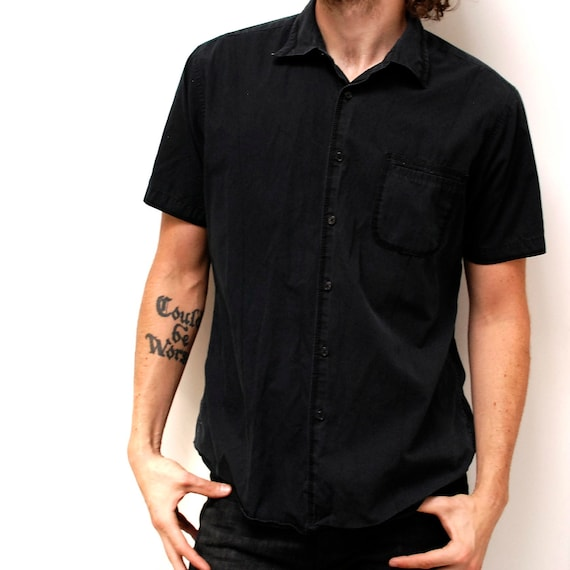 Solid black short sleeve cotton button up shirt for Cotton button up shirt