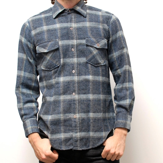 WOOL FLANNEL long sleeve plaid 80s SMALL button up shirt