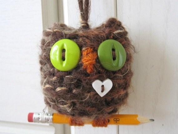 Back to School Hoot Owl- hand knit plush ornament