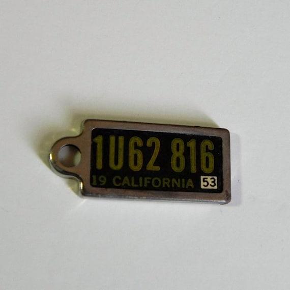 Vintage 60s Mini California Licence Plate Charm 1953