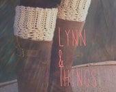 Boot Top Leg Warmers, boot cuffs oatmeal linen
