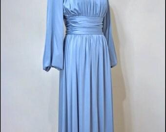Vtg.70s Blue Ruched Goddess Grecian Slinky Hostess Maxi Dress Gown.M.Bust 38-40.Waist 26-29.