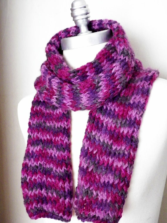 Striped Scarf, Knit, Soft Multicolor Plum Berry Purple Orchid Violet Fuschia