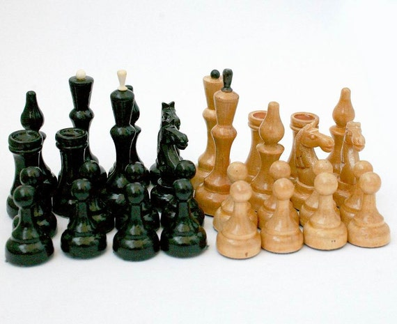 Russian Chess Set - Full Set - Wooden - Wood - 1970s - from Russia / Soviet Union / USSR