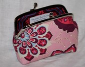 Ornate Floral Amethyst Metal Frame Purse - Small